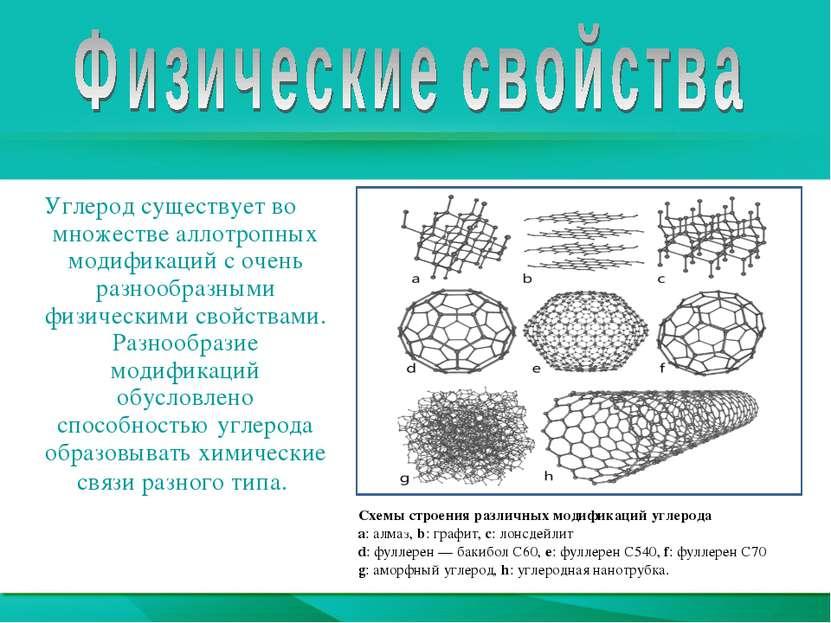 Углерод существует во множестве аллотропных модификаций с очень разнообразным...