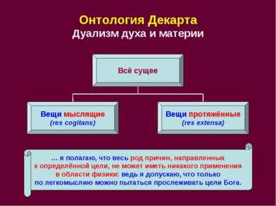 Онтология Декарта Дуализм духа и материи Всё сущее Вещи мыслящие (res cogitan...