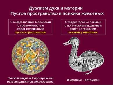 Дуализм духа и материи Пустое пространство и психика животных Отождествление ...