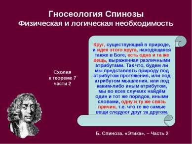 Гносеология Спинозы Физическая и логическая необходимость Круг, существующий ...