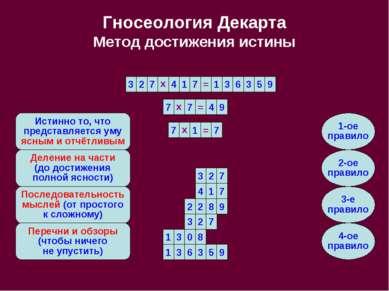 Гносеология Декарта Метод достижения истины 7 7 1 х = 3 2 7 4 1 7 1 3 х = 6 3...