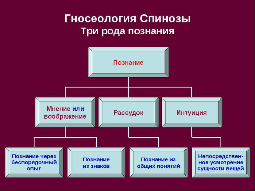 Гносеология Спинозы Три рода познания Познание Рассудок Мнение или воображени...