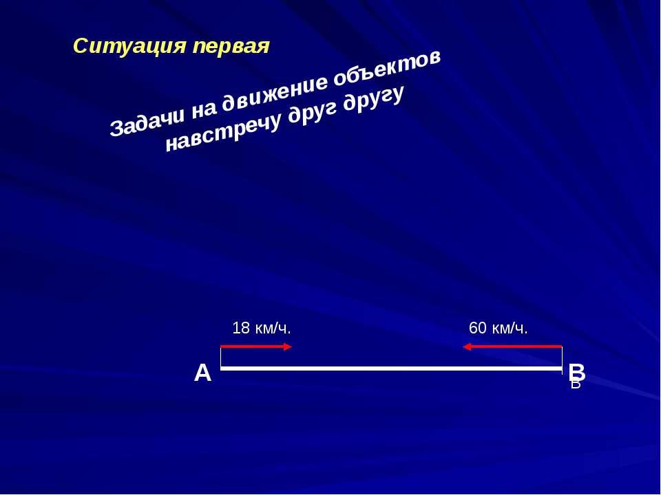 Задачи на движение объектов навстречу друг другу Ситуация первая А В В 18 км/...