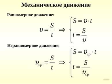 Механическое движение Равномерное движение: Неравномерное движение: