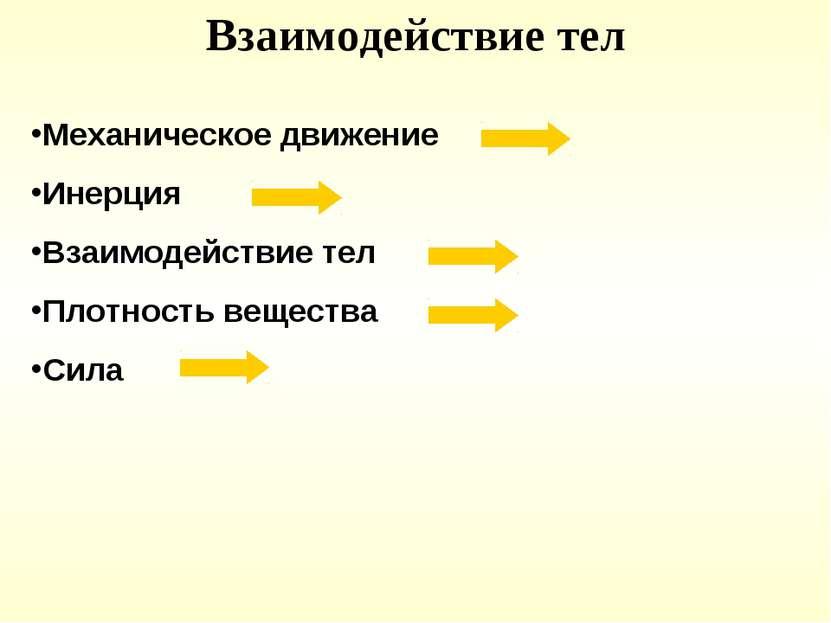 Взаимодействие тел Механическое движение Инерция Взаимодействие тел Плотность...