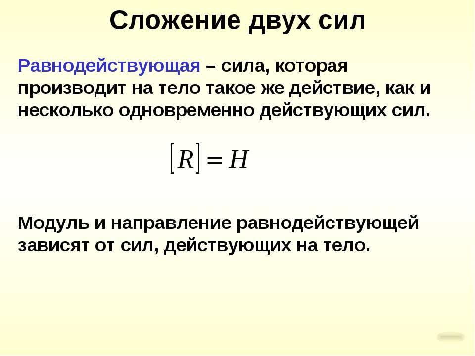 Сложение двух сил Равнодействующая – сила, которая производит на тело такое ж...