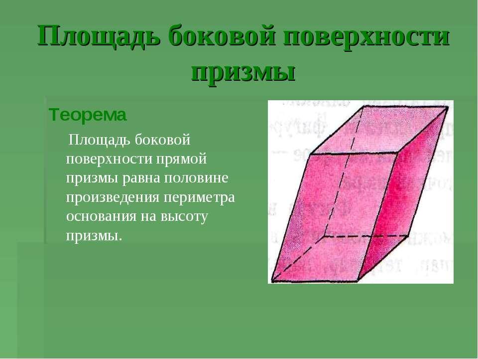Площадь боковой поверхности призмы Теорема Площадь боковой поверхности прямой...