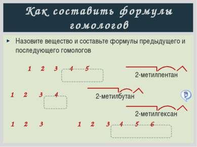 Гомология, изомерия, номенклатура 1 2 3 4 5 6 3-метилгексан Гомологи: 3-метил...