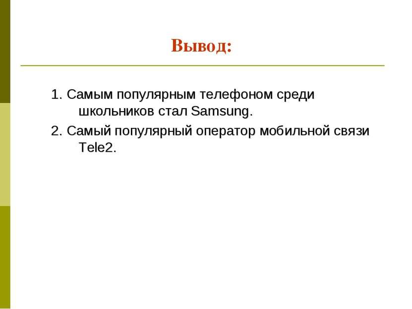 Вывод: 1. Самым популярным телефоном среди школьников стал Samsung. 2. Самый ...
