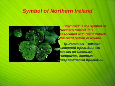Symbol of Northern Ireland Shamrock is the symbol of Northern Ireland. It is ...