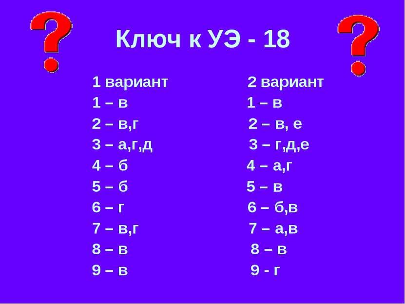 Ключ к УЭ - 18 1 вариант 2 вариант 1 – в 1 – в 2 – в,г 2 – в, е 3 – а,г,д 3 –...