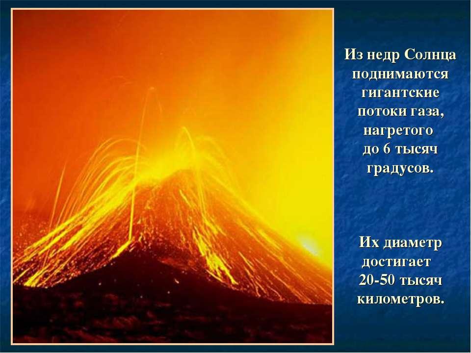 Из недр Солнца поднимаются гигантские потоки газа, нагретого до 6 тысяч граду...
