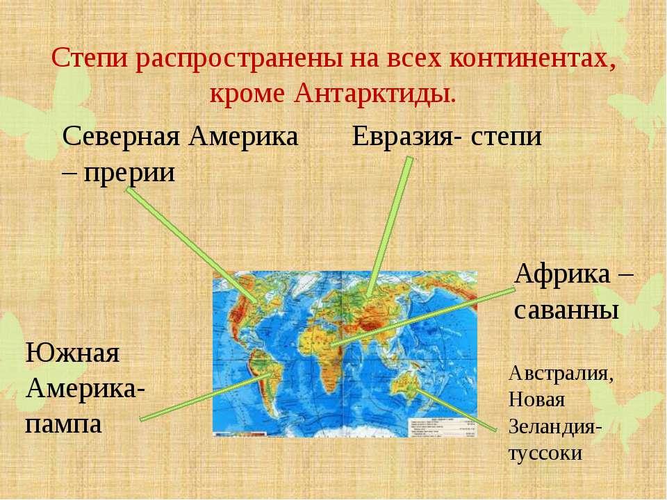 Степи распространены на всех континентах, кроме Антарктиды. Евразия- степи Се...