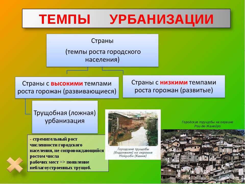 - стремительный рост численности городского населения, не сопровождающийся ро...