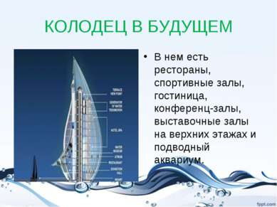 КОЛОДЕЦ В БУДУЩЕМ В нем есть рестораны, спортивные залы, гостиница, конференц...