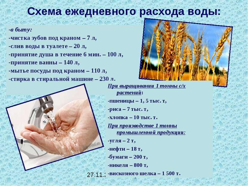 Схема ежедневного расхода воды: -в быту: -чистка зубов под краном – 7 л, -сли...