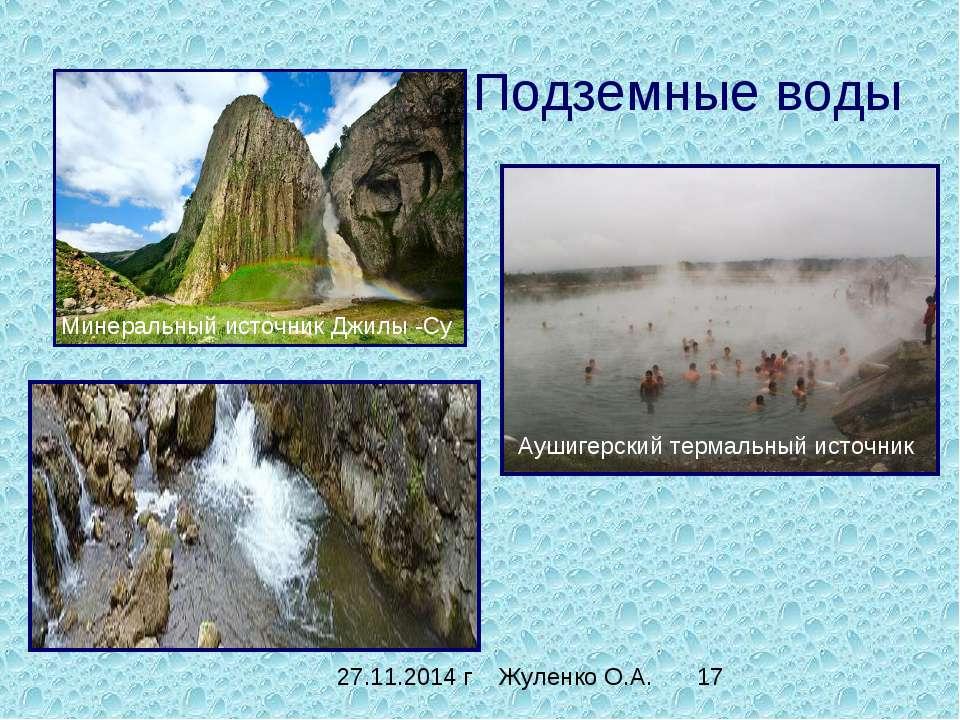 Подземные воды Минеральный источник Джилы -Су Аушигерский термальный источник...