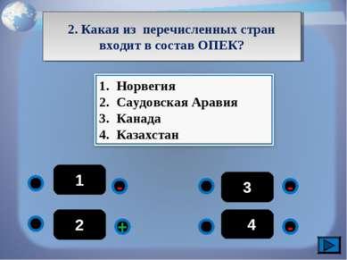 1 - - - + 2 3 44 2. Какая из перечисленных стран входит в состав ОПЕК?