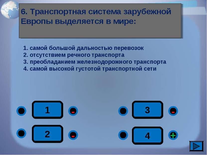1 - + - - 2 3 4 6. Транспортная система зарубежной Европы выделяется в мире: ...