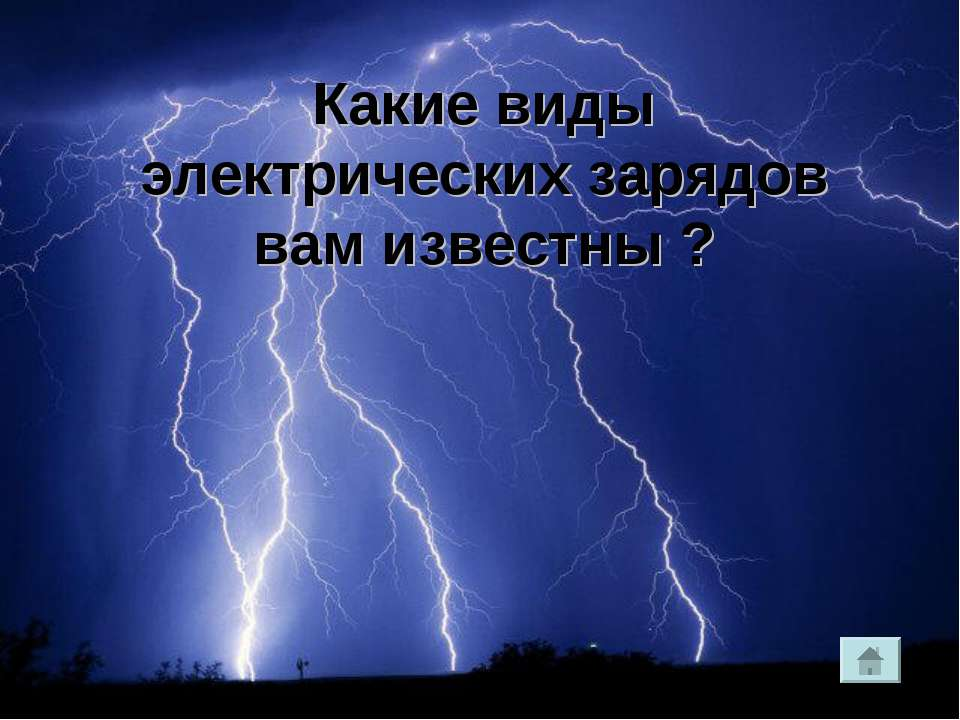 Какие виды электрических зарядов вам известны ?