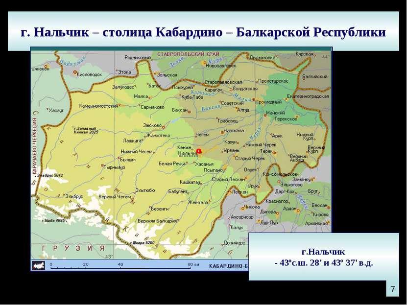 г. Нальчик – столица Кабардино – Балкарской Республики г.Нальчик - 43ºс.ш. 28...