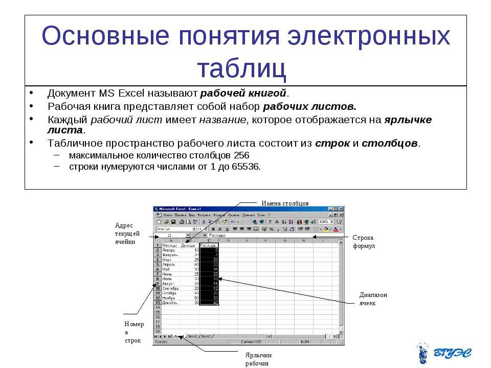 Основные понятия электронных таблиц Документ MS Excel называют рабочей книгой...