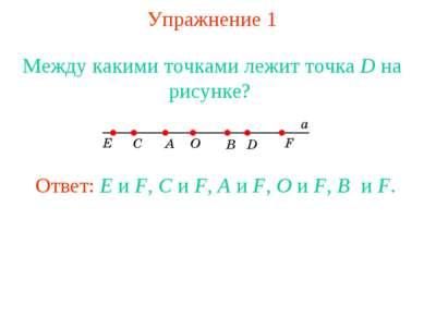 Упражнение 1 Между какими точками лежит точка D на рисунке? Ответ: E и F, C и...