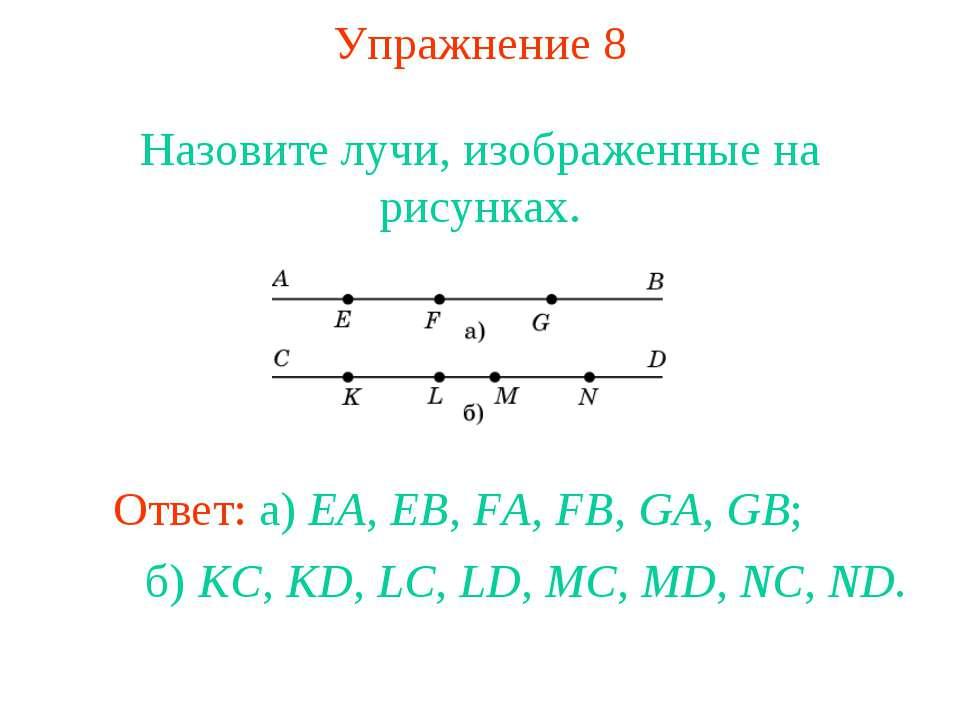 Упражнение 8 Назовите лучи, изображенные на рисунках. Ответ: а) EA, EB, FA, F...
