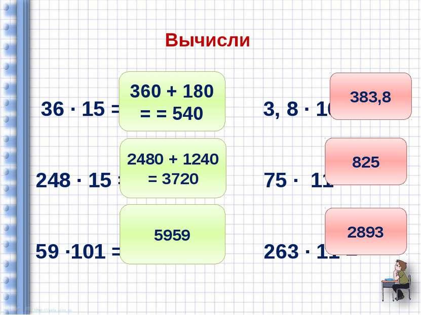 Вычисли 36 ∙ 15 = 3, 8 ∙ 101 = 248 ∙ 15 = 75 ∙ 11 = 59 ∙101 = 263 ∙ 11 = 360 ...