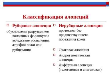 Классификация алопеций Рубцовые алопеции обусловлены разрушением волосяных фо...