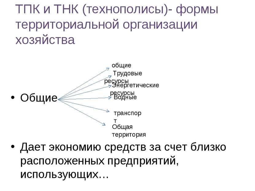 ТПК и ТНК (технополисы)- формы территориальной организации хозяйства Общие Да...