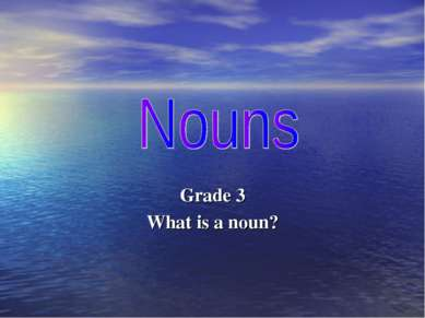 Grade 3 What is a noun?
