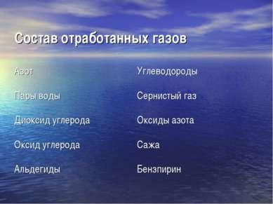 . . Состав отработанных газов Азот Углеводороды Пары воды Сернистый газ Диокс...