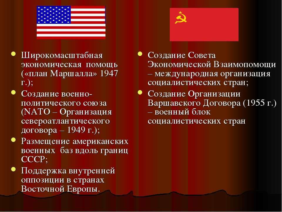 Широкомасштабная экономическая помощь («план Маршалла» 1947 г.); Создание вое...