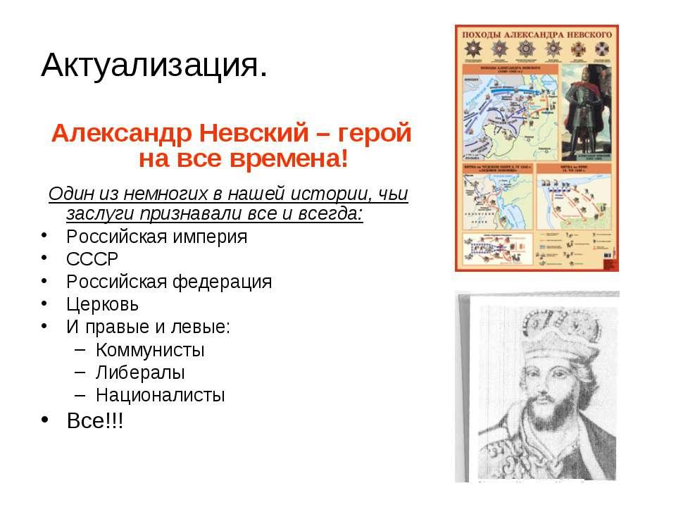 Актуализация. Александр Невский – герой на все времена! Один из немногих в на...