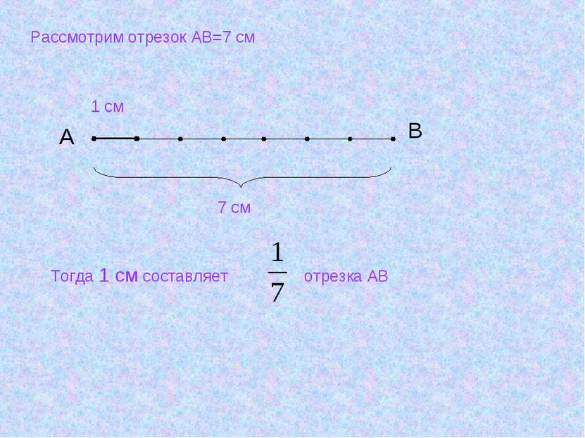 Рассмотрим отрезок АВ=7 см