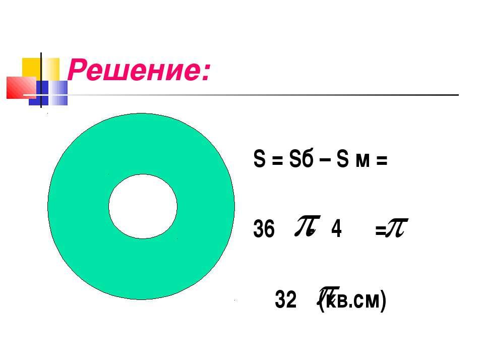 Решение: S = Sб – S м = 36 - 4 = 32 (кв.см)