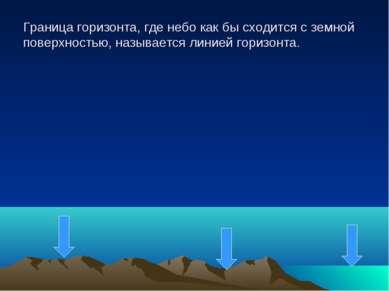 Граница горизонта, где небо как бы сходится с земной поверхностью, называется...