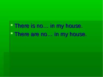 There is no… in my house. There are no… in my house.