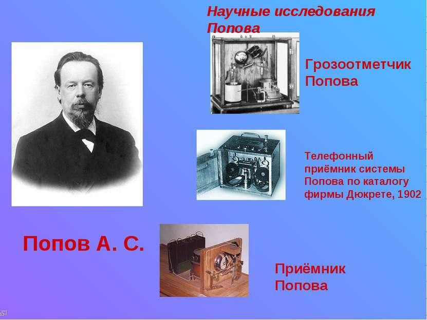 Попов А. С. Приёмник Попова Научные исследования Попова Грозоотметчик Попова ...