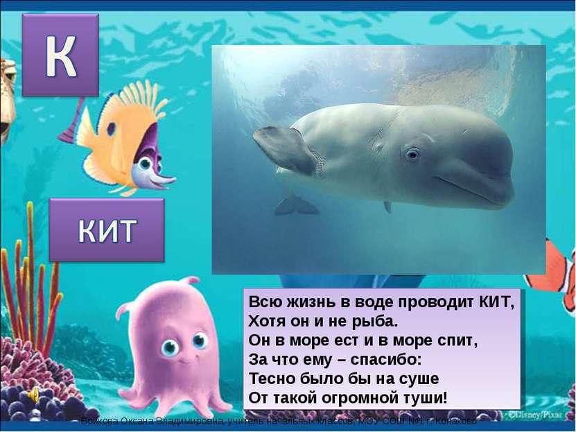 Всю жизнь в воде проводит КИТ, Хотя он и не рыба. Он в море ест и в море спит...
