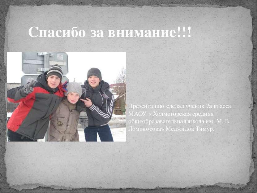 Презентацию сделал ученик 7а класса МАОУ « Холмогорская средняя общеобразават...