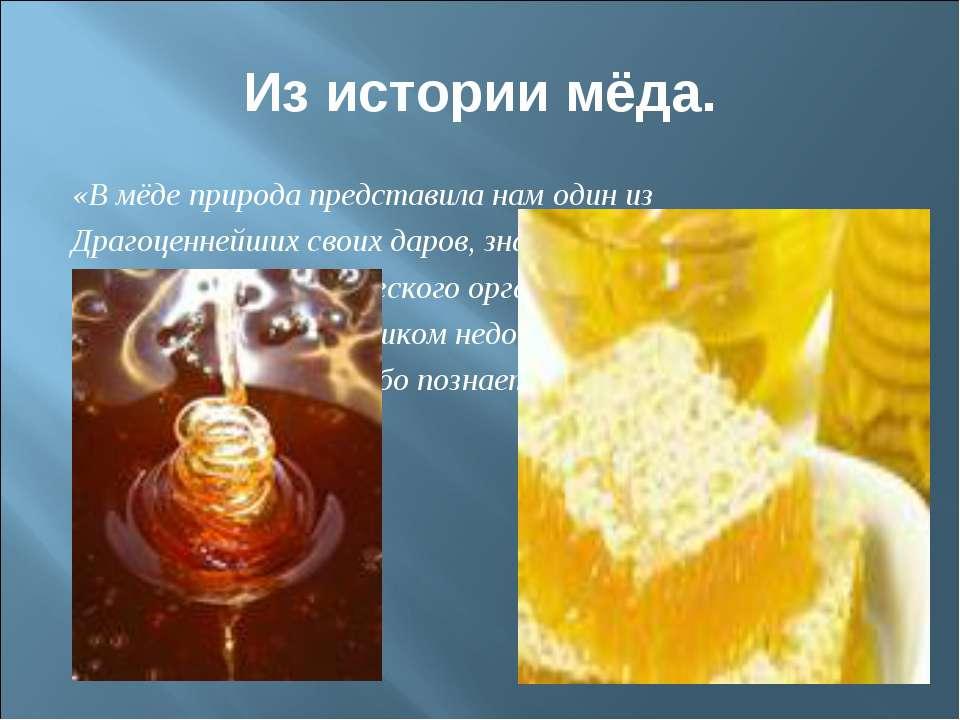 Из истории мёда. «В мёде природа представила нам один из Драгоценнейших своих...