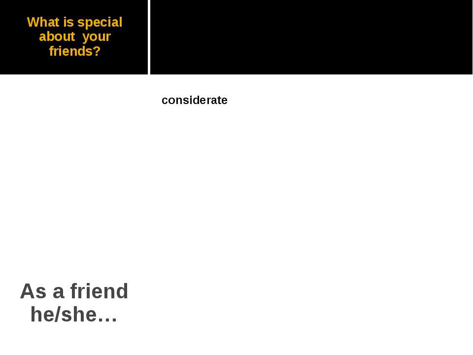 What is special about your friends? As a friend he/she…