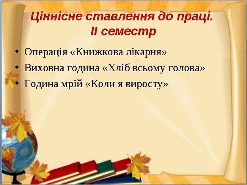 Ціннісне ставлення до праці. ІІ семестр Операція «Книжкова лікарня» Виховна г...