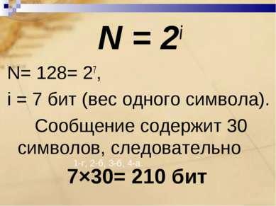 1-г, 2-б, 3-б, 4-а. N = 2i N= 128= 27, i = 7 бит (вес одного символа). Сообще...
