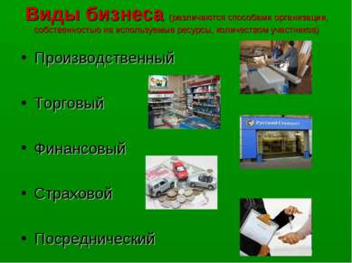 Виды бизнеса (различаются способами организации, собственностью на используем...