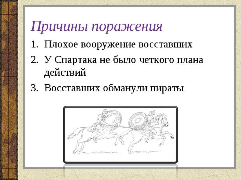 Причины поражения Плохое вооружение восставших У Спартака не было четкого пла...