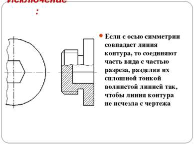 Исключение: Если с осью симметрии совпадает линия контура, то соединяют часть...