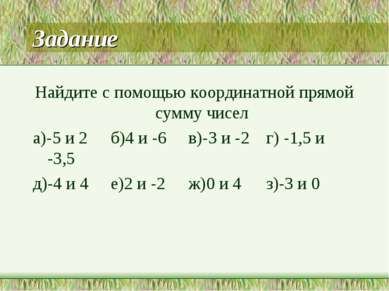 Задание Найдите с помощью координатной прямой сумму чисел а)-5 и 2 б)4 и -6 в...